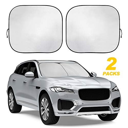 TWING Windshield Sun Shade 2-Piece Foldable Car Front Window Sunshades Sun Visor Protector Blocks 99% UV Rays and Keeps Your Vehicle Cool for Most Sedans SUV Truck 28