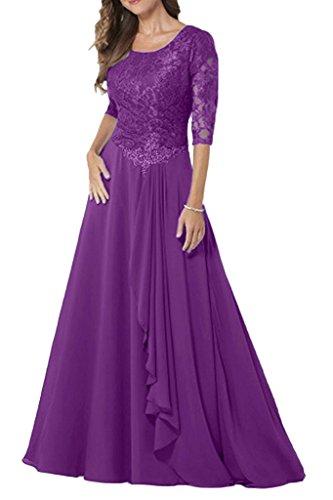La_mia Braut Navy Blau U-Ausschnitt Spitze Abendkleider Brautmutterkleider Ballkleider Chiffon Lang A-linie Rock Violett gOChMvX