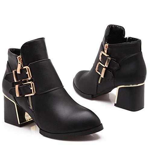 Ankle Boots Zipper Heel Women Block Black Coolcept OcZx7tny