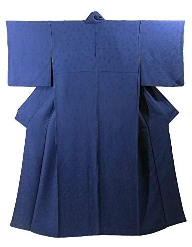 リサイクル 着物 正絹 袷 色無地 紋なし 深い紺色 裄64cm 身丈157cm