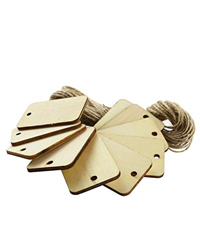 Twdrer 50PCS Wood Gift Tags Unfinished Wood Craft Supplies DIY Woodcrafts Blank Wooden Gift Tags Natural Hanging Wood Pieces for Wine,Decor,Wedding,Christmas,Halloween.(with 10PCS Jute Twines) -