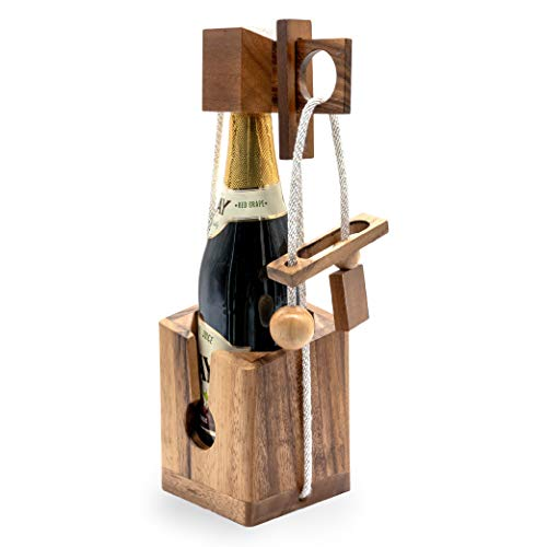 Gift Wine Puzzles to Be Funny Unique Game Puzzle Gifts for Wine Lovers and Adults on Party to Challenges Wood Brain Teaser Puzzles with Lock Combination of Bottle Think Before Drink