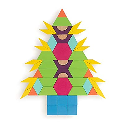 Polygrams Pattern Blocks | 250 Wooden Geometric Tangram Manipulatives in 8 Colorful Shapes with Storage Drum and Booklet with 16 Pre-Made Patterns | Educational Resource for Parents and Teachers: Toys & Games