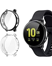 [2 Pack] Case for Samsung Galaxy Watch Active 2 44mm, All-Around TPU Anti-Scratch Flexible Screen Protector Case Soft Protective Bumper Cover for Samsung Galaxy Watch Active 2 Clear and Black(44mm)
