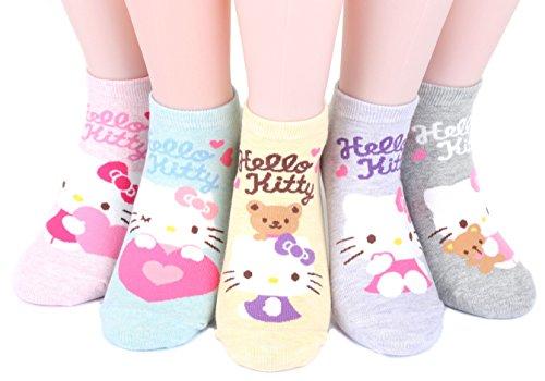 Hello Kitty Series Women's Original Socks 5 pairs (5 color) = 1 pack Made in Korea / k4 lovely