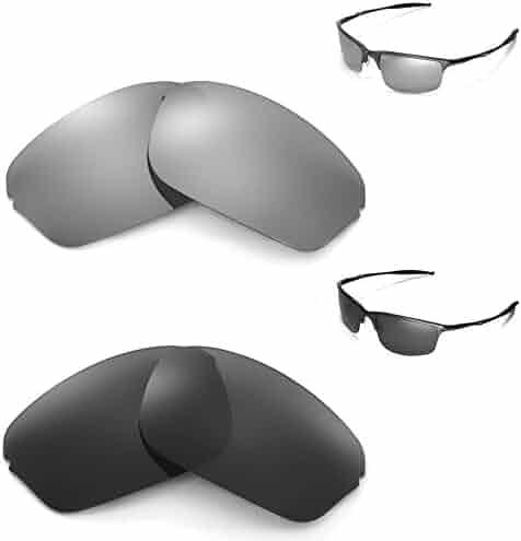 f01b224f83 New Walleva Polarized Ice Titanium + Black Lenses For Oakley Half Wire 2.0