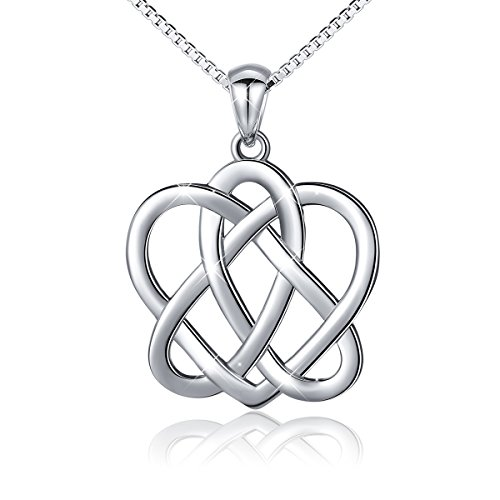 925 Sterling Silver Good Luck Irish Triangle Celtic Knot Heart Vintage Pendant Necklace, Box Chain (Good Luck Heart Charm)