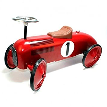 Goki - Voiture Rétro Rouge Porteur en métal Trotteur Premier Pas - Véhicule  pour bébé dès a18fd60d0c5
