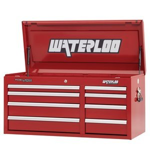 """Waterloo Professional Series 8-Drawer Tool Chest with Internal Tubular Keyed Locking System, Red Finish, 41"""" W"""