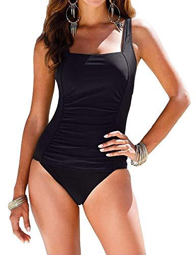 I2CRAZY Plus Size Bathing Suits Shirred Tank Swimwear Push Up Swimsuits - 3XL, Black