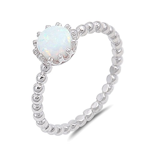 Lab Created White Opal Solitaire Promise Sterling Silver Ball Bead Band Ring Sizes 5 10