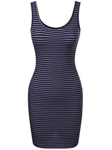 BEYONDFAB Women's Stripe Sleeveless Scoop Neck Knit Tank Bodycon Dress Navy L