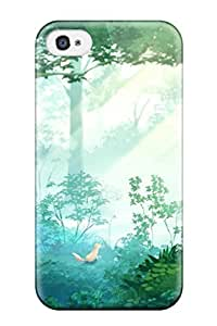 DanRobertse Case Cover Protector Specially Made For Iphone 4/4s Animal Forest Fox Grass Juuyonkou Original Scenic Tree