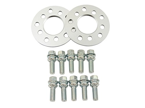 2pc 7mm Hubcentric 5x130 Wheel Spacers (71.6mm Bore) with 14x1.5 Ball Seat Bolts R14 Silver - for Porsche 924 928 944 968 911 Boxter Cayman Cayenne Panarema