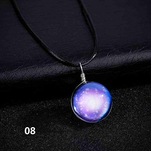 Davitu Collares Duplex Glass Planet Star Ball Crystal Galaxy Leather Chain Pendants Maxi Necklace for Women Girlfriend Gift #277182 - (Metal Color: 08)