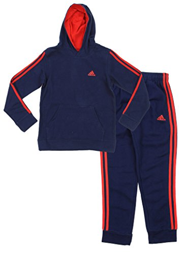Adidas Youth Big Boys Game Time Hoodie And Pants Set, C Navy/ Scarlet -