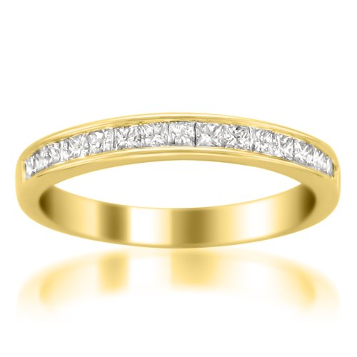 14k Gold Princess-cut Diamond 16-stone Bridal Wedding Band Ring (1/2 cttw, H-I, SI2-I1), Size 6 Image