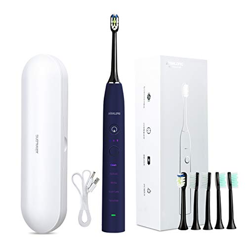 XIMALONG Sonic Electric Toothbrush 2000mAh 100days to use 37200Vibrations min Smart Timer 5 Modes Waterproof with 6 Replacement Brush Heads ZR505, purple