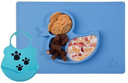 one-piece-silicone-fun-placemat-plate-tray-with-bib-self-suction-blue-duck-design-by-elm-tree-for-ki