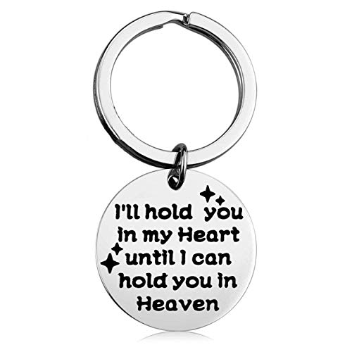 ENSIANTH Memorial Keychain I'll Hold You in My Heart Until I Can Hold You in Heaven Keychain Loss of A Loved One Gift (Hold You Keychain)