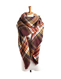 American Trends Women Fashion Winter Scarf Warm Soft Plaid Scarf Cozy Blanket Shawl Classic Coffee