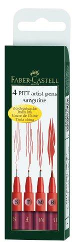 Pen Assorted Wallet (Faber-Castell PITT Artist Pen Sanguine Wallet 167102 - 4 Assorted Nibs)