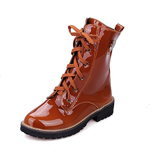 AgooLar Women's Low-Top Lace-up PU Low-Heels Round Closed Toe Boots Brown OipebMWx