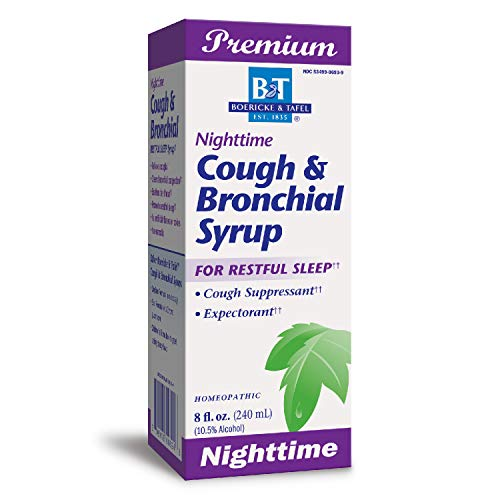 Boericke & Tafel Nighttime Cough & Bronchial Syrup for Restful Sleep, Cough Suppressant & Expectorant, Homeopathic, 8 Ounce (Best Daytime Cough Suppressant)