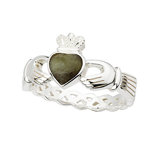 Celtic Weave Claddagh Ring Connemara Marble & Sterling Silver Size 7.5