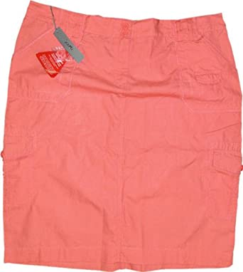 aea7b60888a Savoir Coral Pink Knee Length Cotton Cargo Skirt Plus Size 30 - Pink   Amazon.co.uk  Clothing