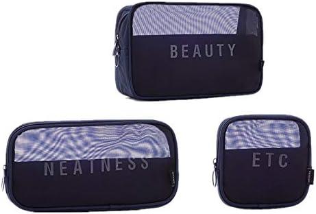 旅行化粧バッグ 3個セットユニセックストイレタリーバッグメッシュ化粧品美容バッグ化粧バッグ多機能浴室シャワーバッグ旅行ハンディオーガナイザーポーチ アクセサリー用コスメバッグ (色 : 青, Size : Free size)