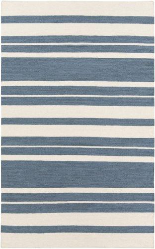 8' x 11' Epais Raye Smokey Blue and Beige Reversible Hand Woven Wool Area Throw Rug