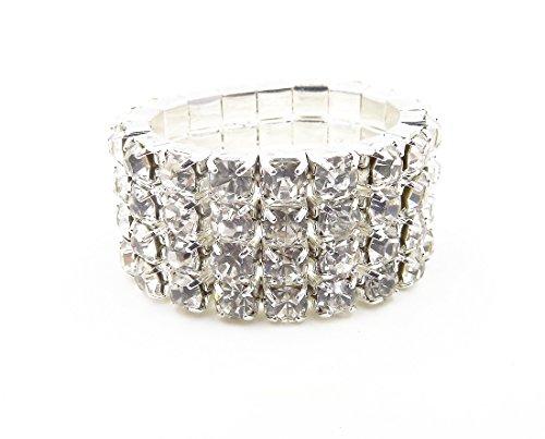 - WTZ - New Sparkling 4 Row Crystal Rhinestone Stretch Ring