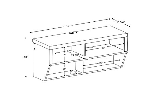 """Espresso 42"""" Wide Wall Mounted AV Console - Series 9 Designer Collection - Designed for use with flat panel plasma/LCD TVs up to 50 lbs. Two upper compartments for audio/video components Two lower components for DVDs and Blu-ray discs - tv-stands, living-room-furniture, living-room - 41DHZzAw2oL -"""
