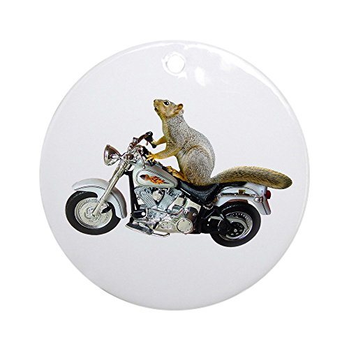 CafePress Motorcycle Squirrel Ornament (Round) Round Holiday Christmas Ornament (Squirrel Ornament Tree)
