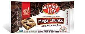 Enjoy Life  Mega Chocolate Chip Chunks, Gluten, Dairy, Nut & Soy Free, 10-Ounce (Pack of 6)