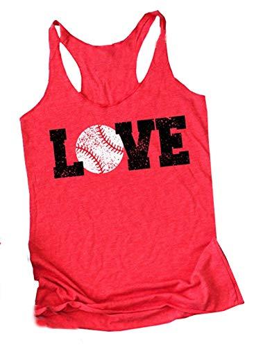 - Baseball Tank Tops Women Love Letter Print Vest Sleeveless Baseball Graphic Print T Shirt Size S (Red)