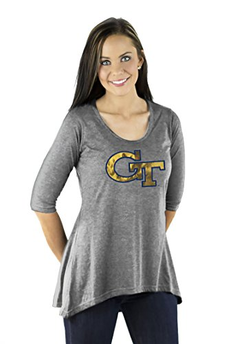 Gameday Couture NCAA Georgia TECH Yellow Jackets Women's 3/4 Sleeve HI LO Flowy Tunic Size (Georgia Tech Lady Jackets)
