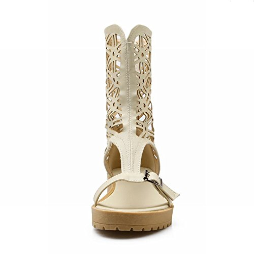 Beige Open Womens Sandal High Foot Toe Top Spring Charm Summer Gladiator 6vHR4Zq