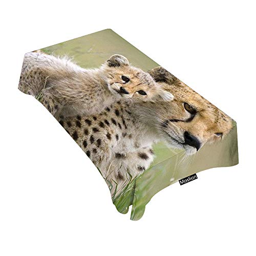 Moslion Decorative Rectangle Table Cloths Wild Animal Cheetah Tablecloth Table Cover for Dining/BBQ/Picnic/Coffee Table 52 X 70 Inches]()