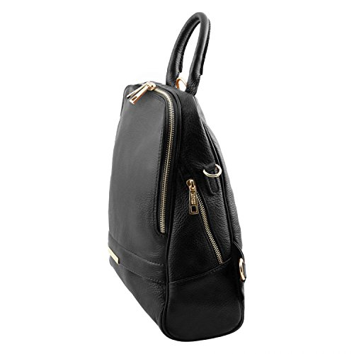 backpack TLBag for Tuscany Black Leather women leather Soft Cognac w6xZcTZq4I