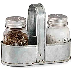 Mud Pie Fresh Jar Salt and Pepper Caddy Set, Silver