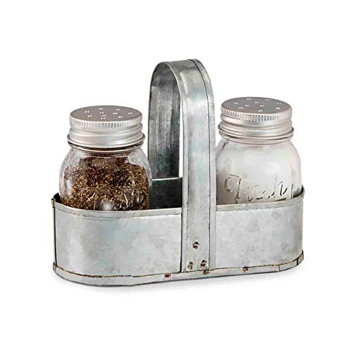 (Mud Pie Fresh Jar Salt and Pepper Caddy Set, Silver)