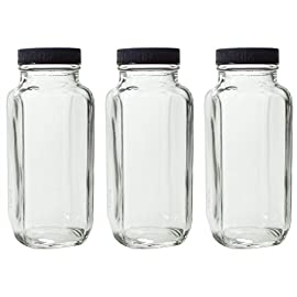 "8 oz Clear Thick Plated Glass French Square Empty Bottle Jar with Lid (3 Pack) Perfect for Home, Travel, Juicing, Kombucha 74 Includes 3 - 8 oz Clear Thick Plated Glass French Square Empty Bottle Jar with Lid These bottles are perfect for your home and travel, canning, fruits and veggie juicing needs Measurements: Width: 2.20"" x Height: 5.40"""