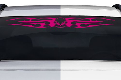 """Sticky Creations - Design #156-01 Skull Tribal Flame Wings Windshield Decal Sticker Vinyl Graphic Rear Window Banner Tailgate Car Truck SUV Van Go Cart Boat Trailer 