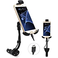 Te-Rich Upgraded 2-in-1 Cigarette Lighter Phone Holder Car Mount Charger with Built-in Micro USB Cable for Samsung Galaxy and More Android Smartphones - Dual USB, 3.1A Max