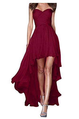 Traegerlos Lo Hi Festkleider Abendkleider Chiffon Bride Gorgeous Weinrot Ballkleider Lang Fashion RwUEH