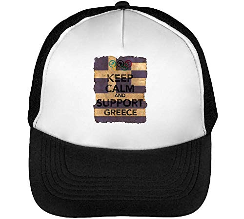 Vintage Keep Calm Support Greece Flag Background Gorras Hombre Snapback Beisbol Negro Blanco