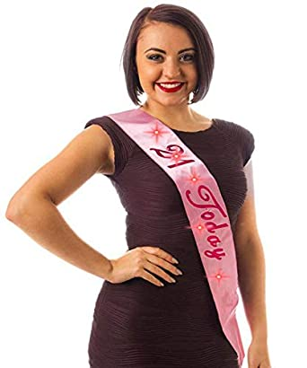 Amazon com: Pink Bday Sash W/ '21 Today 21st Birthday Party