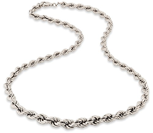 SilverLuxe Sterling Silver Rope Chain Necklace Rhodium Plated - 18